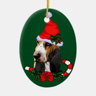 Ornement Ovale En Céramique Noël de Basset Hound