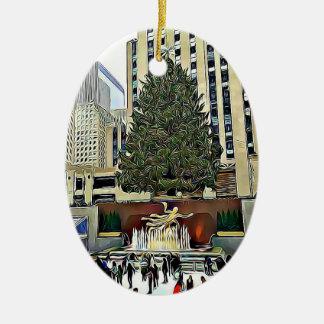 Ornement Ovale En Céramique Noël de piste de patinage d'arbre de NYC