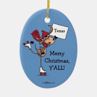 Ornement Ovale En Céramique Noël de rouleau de Longhorn Patiner-Joyeux vous !