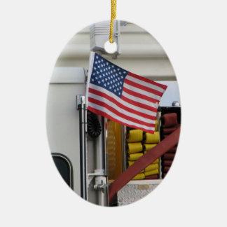 Ornement Ovale En Céramique Noël de sapeur-pompier