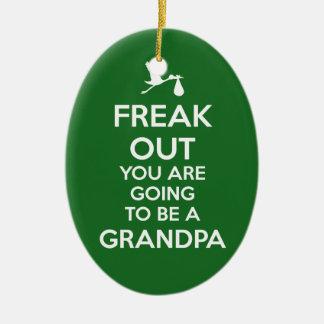 Ornement Ovale En Céramique Noël d'ornement de grand-papa de faire-part de