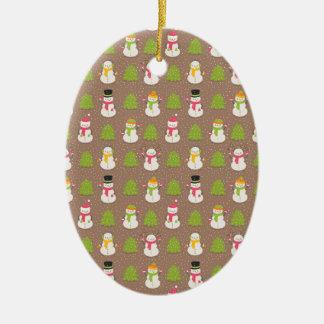 Ornement Ovale En Céramique Noël mignon souriant et ondulant Snowmans