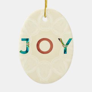 Ornement Ovale En Céramique Noël moderne 'Joy d'arrière - plan crème