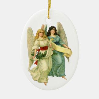 Ornement Ovale En Céramique Noël vintage, anges victoriens angéliques