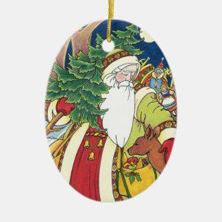 Ornement Ovale En Céramique Noël vintage, cerf commun du père noël dans la
