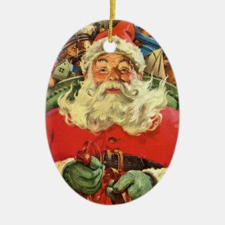 Ornement Ovale En Céramique Noël vintage, le père noël dans Sleigh avec des