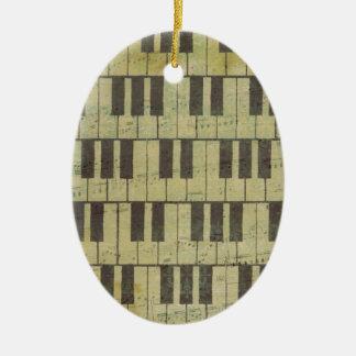 Ornement Ovale En Céramique Note principale de musique de piano