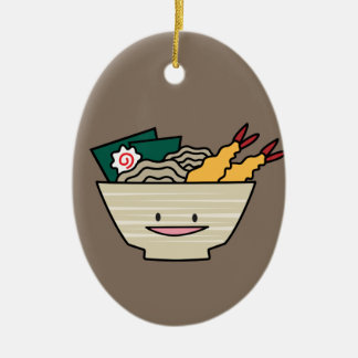 Ornement Ovale En Céramique Nouilles de Japonais de crevette de nori de bol de