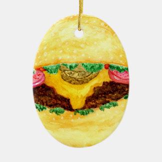 Ornement Ovale En Céramique Nourriture 2 d'hamburger