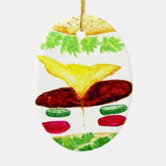 Ornement Ovale En Céramique Nourriture d'hamburger
