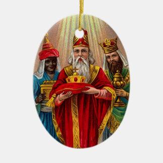 Ornement Ovale En Céramique Nous les trois Rois Christmas Ornament