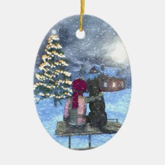 Ornement Ovale En Céramique Observation pour l'ornement en céramique de Noël