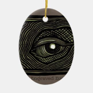 Ornement Ovale En Céramique Oeil gravé