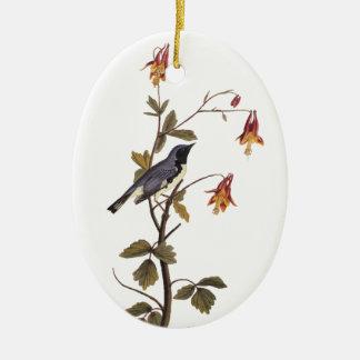 Ornement Ovale En Céramique Oiseau bleu Noir-Throated d'Audubon de fauvette