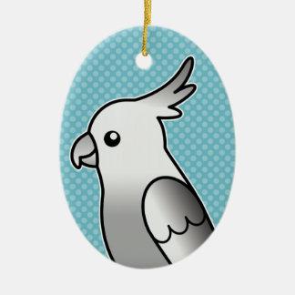 Ornement Ovale En Céramique Oiseau de perroquet de Cockatiel de bande dessinée