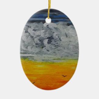 Ornement Ovale En Céramique Oiseaux au lever de soleil