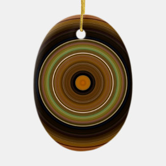 Ornement Ovale En Céramique Orange verte de Brown de cercle hypnotique