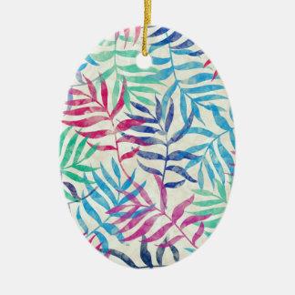 Ornement Ovale En Céramique Palmettes tropicales d'aquarelle