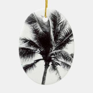 Ornement Ovale En Céramique Palmier noir et blanc