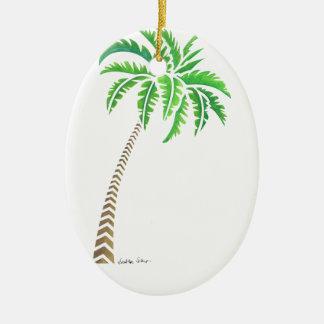 Ornement Ovale En Céramique Palmier tribal de noix de coco