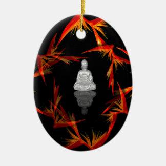 Ornement Ovale En Céramique Paradis Bouddha