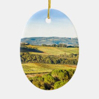 Ornement Ovale En Céramique Paysage en Toscane, Italie
