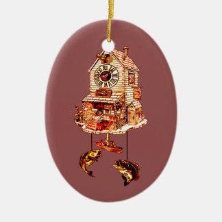 Ornement Ovale En Céramique Pêche de l'horloge de coucou de loge