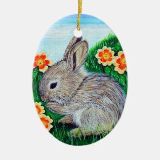 Ornement Ovale En Céramique Peinture de lapin de printemps