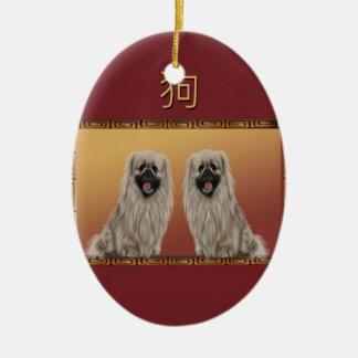 Ornement Ovale En Céramique Pekingese année chinoise de conception asiatique