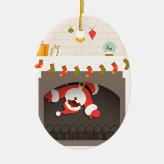 Ornement Ovale En Céramique père Noël noir coincé en cheminée