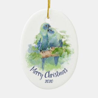 Ornement Ovale En Céramique Perroquets de caresse d'aquarelle datée de Noël de