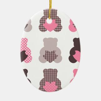Ornement Ovale En Céramique Petits nounours : nounours merveilleux