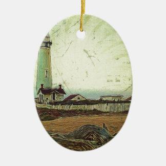 Ornement Ovale En Céramique Phare chic côtier de paysage d'impressionisme