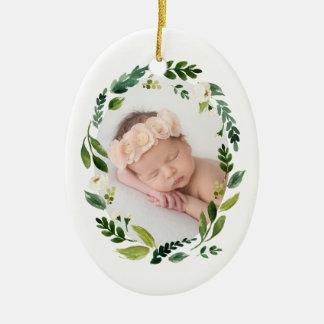 Ornement Ovale En Céramique Photo de Noël de guirlande d'albâtre première
