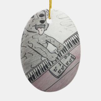 Ornement Ovale En Céramique piano de chiot