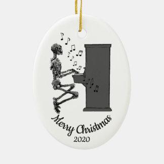 Ornement Ovale En Céramique Piano de jeu squelettique d'amusement daté de Noël