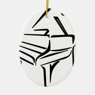 Ornement Ovale En Céramique Piano stylisé