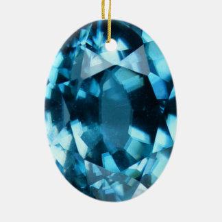 Ornement Ovale En Céramique Pierre porte-bonheur bleue en cristal de décembre
