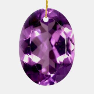 Ornement Ovale En Céramique Pierre porte-bonheur violette brillante de février
