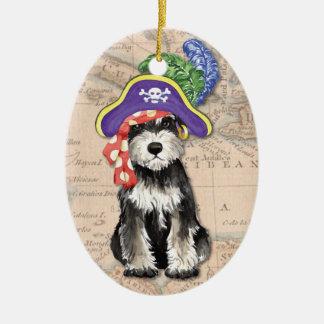 Ornement Ovale En Céramique Pirate de Schnauzer miniature
