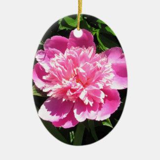 Ornement Ovale En Céramique Pivoine rose