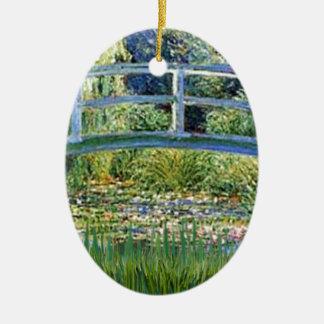 Ornement Ovale En Céramique Pont d'étang de lis - insérez votre animal
