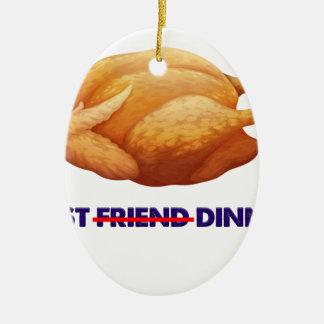 Ornement Ovale En Céramique poulet, T-shirt de cadeau de dîner d'ami