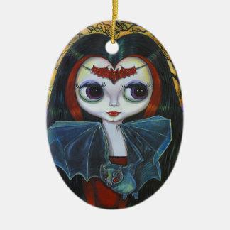Ornement Ovale En Céramique Poupée mignonne de vampire avec l'ornement de