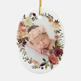 Ornement Ovale En Céramique Première photo de Noël de fleur rustique