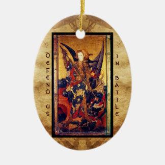 Ornement Ovale En Céramique Prière de victoire de diable de St Michael