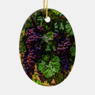 Ornement Ovale En Céramique Raisins ensoleillés de vignoble de la Toscane de