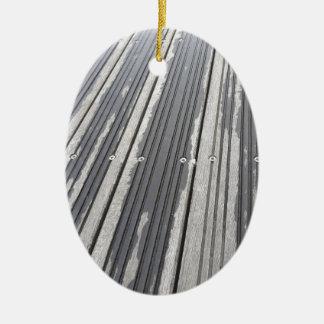 Ornement Ovale En Céramique Rayures de Decking