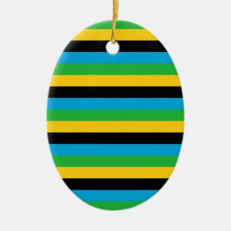 Ornement Ovale En Céramique Rayures de drapeau de la Tanzanie