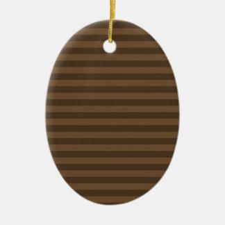 Ornement Ovale En Céramique Rayures minces - Brown et Brown foncé